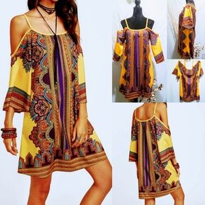 Cold Shoulder Boho Tribal Print Dress size M 🦄💋